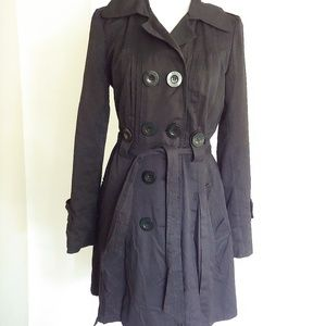 XOXO Black Double Breasted Trench Coat